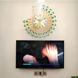 3D Peacock Diamond Large Wall Clock Metal