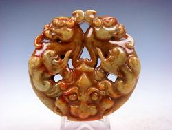 Jade Carved Old Nephrite Double Pi Xiu Monster Face Head Pendant