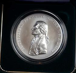 US Presidential Silver Medal, Jefferson, Box & Papers