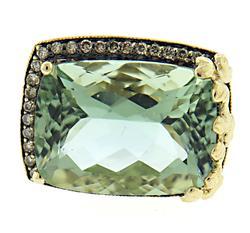 Amazing Prasolite & Champ Diamon Hal Ring