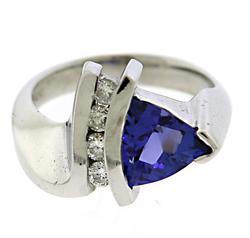 Glowing Trillion Tanzanite & Diamond Ring