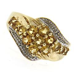 Pretty Citrine Cluster & Diamond Accent Ring