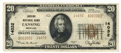 Nice 1929 Series $20 National of Lansing, MI (14032)