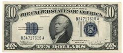 Near Gem CU 1934-C $10 Blue Seal Silver Certificate