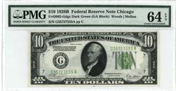 Near Gem CU 1928-B $10 Fed Res Note. PMG-64 EPQ
