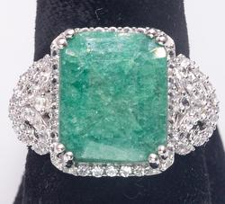 Glittering 7.75CT Emerald & White Sapphire Ring in Sterling Silver