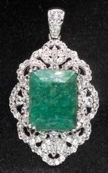 Dazzling Emerald & White Sapphire Filigree Pendant in Sterling
