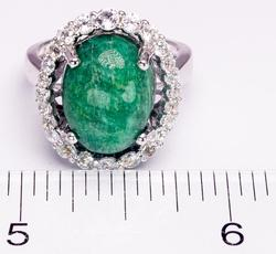 Lovely Oval Emerald & Sapphire Ring in Sterling Silver