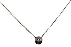 Great White Gold Bezel Set Tanzanite Necklace