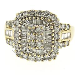 Exciting Diamond Cluster w Round & Baguette Ring