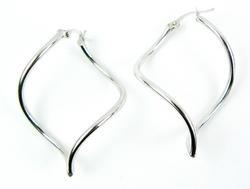 10K White Gold Swirl Hoop Earrings