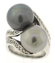 Charming Double Grey Pearl with Diamond Ring