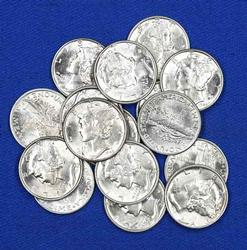 16 BU Assorted Frosted White Mercury Dimes