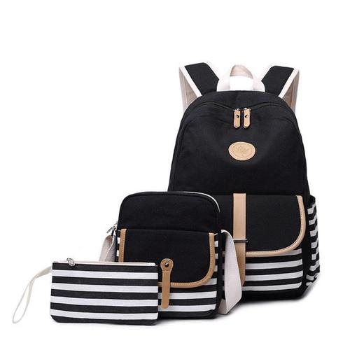 3Pcs/Set Canvas Backpack School Bag Waterproof Travel