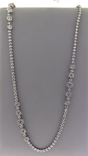 Almost 20 CTTW! Long Diamond Tennis Necklace w Cluster Diamonds