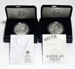 2001 W & 2004 W Proof Silver Eagles Boxs and Papers