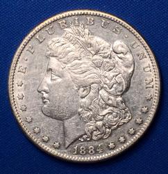 1884-S Morgan Silver Dollar, Flashy Circ, Some Luster