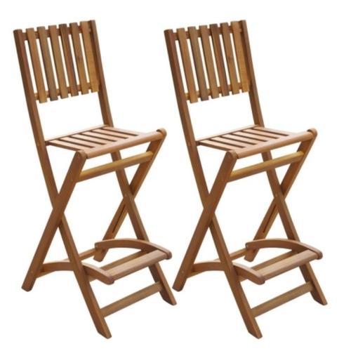 Folding Bar Chairs 2 pcs Acacia Wood