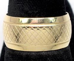 14KT Wide Textured Band Ring, Size 7 3/4