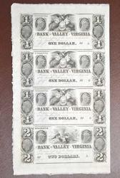 Uncut Sheet of Obsolete Virginia Bank Notes, Winchester