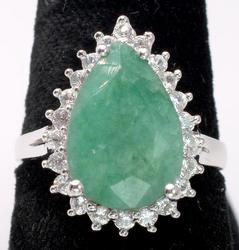 Classy pear-Cut Emerald & Sapphire Halo Ring, Sterling