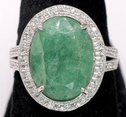 Gorgeous Large Emerald & Sapphire Ring in Sterling Silver