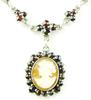 Carved Shell Cameo & Garnets Sterling Necklace