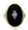 Deco 10K Onyx & Diamond Ring, Size 7