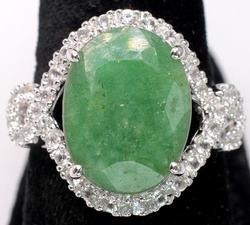 Gorgeous Massive Emerald & Sapphire Halo Ring, Sterling Silver