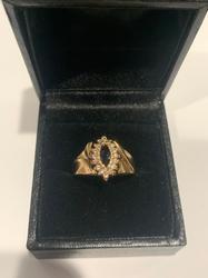 Fancy 14kt Gold, Blue Sapphire, & Diamond Ring