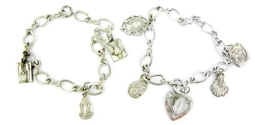 2 Vintage Sterling Religious Charm Bracelets