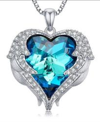 Bermuda Blue Color Heart Necklace with Chain