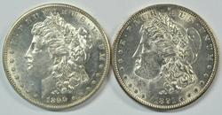Flashy BU 1890-S & 1891-S Morgan Silver Dollars