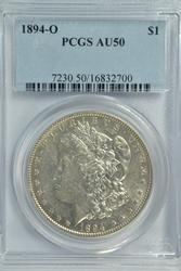 Scarce nearly BU 1894-O Morgan Silver Dollar. PCGS AU50