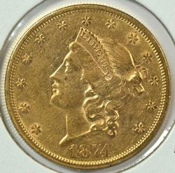 Lustrous 1874-S Type 2 US $20 Liberty Gold Piece. Nice