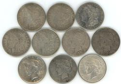 10 Morgan & Peace Silver Dollars: 1921 & 1922