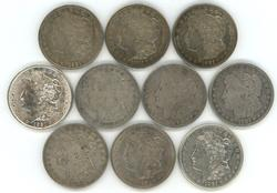 Sharp lot of ten (10) 1921 Morgan Silver Dollars
