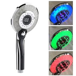 LED Light LCD Display Water Flow Shower Head