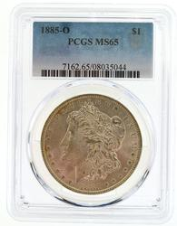 Gem BU 1885-O Morgan Silver Dollar. PCGS MS65