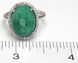 Darling Cabochon Emerald Ring with Sapphire Halo