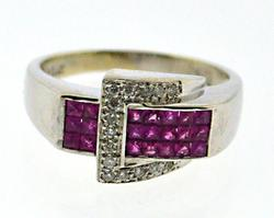 Flashy Pink Sapphire and Diamond Buckle Ring