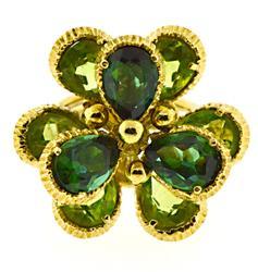 Fabulous 18kt Peridot and Green Tourmaline Ring