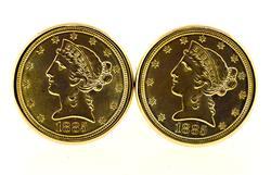 22kt 1885 Liberty Coin Cufflinks