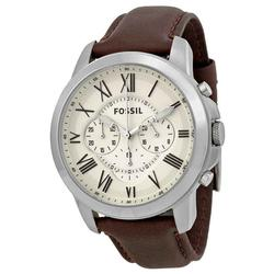 New Mens Fossil Chronograph w/ Brown Leather Strap