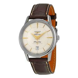 New Mens Longines Swiss, Sapphire, Brown Leather