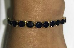 18.0 Carat Blue Sapphire Tennis Bracelet in 14kt Gold