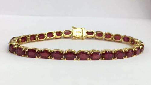 14kt Yellow Gold & Ruby Tennis Bracelet, 20.00 Carats!