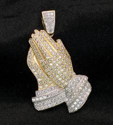 14KT Crystal-Studded Praying Hands Pendant