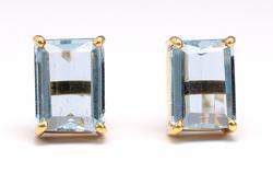 Lovely 18KT Emerald-Cut Blue Topaz Earrings