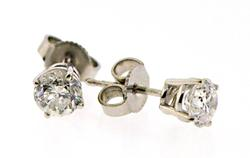 Elegant White Gold apx 0.80ctw Diamond Stud Earrings